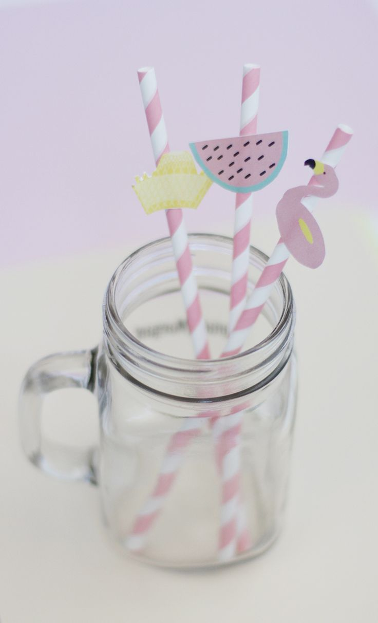 Summer theme party paper cutout paper straws