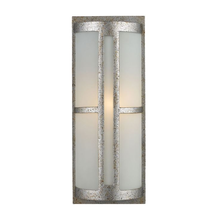 Trevot 1 Light Outdoor Wall Sconce In Sunset Silver And Frosted Glass