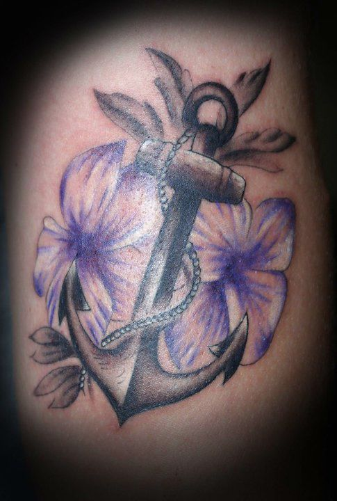 Anchor made of flowers or something. Maybe paisley design. Name wrapped around like a rope would be. Colorful