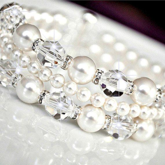Bridal Cuff Bracelet Swarovski Crystal Bridal         Thinking I have everything to make this...