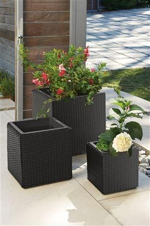 Set Of 3 Cube Rattan Effect Planters