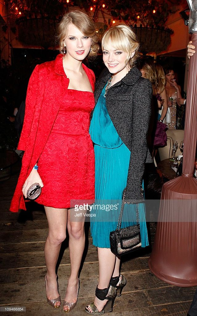Musician Taylor Swift and Actress Emma Stone attend the Montblanc Cocktail Party co-hosted by Harvey and Bob Weinstein celebrating the Weinstein Company's Academy Award Nominees and the New Montblanc Charity Partnership with the Princess Grace Foundation-USA at Soho House on February 26, 2011 in West Hollywood, California.