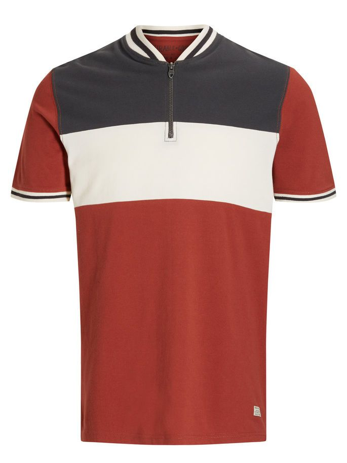 Vintage styled polo t-shirt: Half-zipped, striped polo, made of 100% cotton, in navy blue, white and red | JACK & JONES #vintage #polo #stripes #france