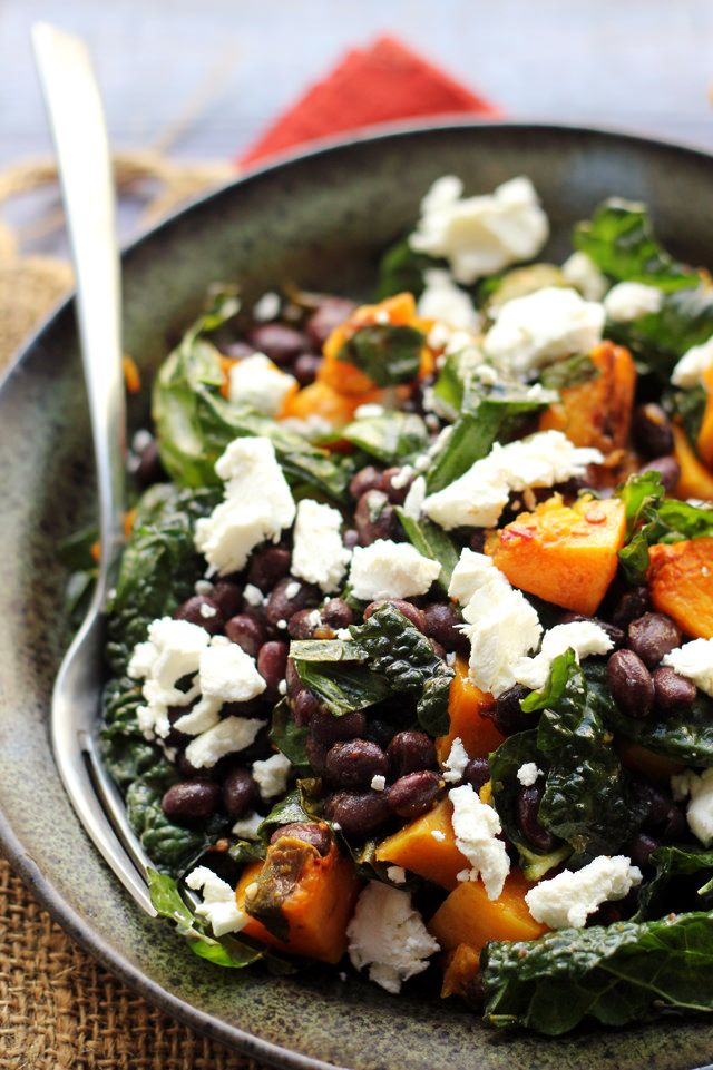 Butternut Squash and Smoky Black Bean Kale Salad