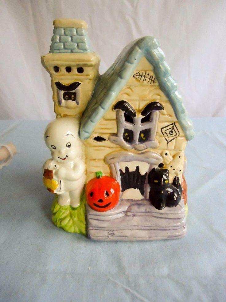 Casper Ghost Halloween Ceramic Lighted Haunted House