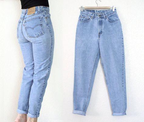 Vintage 80er Jahre 90er Jahre hohe Taille Levi's 512 Tapered Leg Jeans – Frauen Stone Washed Slim Fit verblasste Blue Denim Boyfriend Jeans – Größe 9 27 Taille