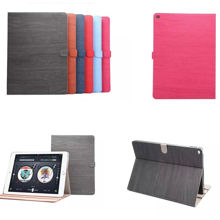 Fashion Wood pattern PU Leather flip Stand case for Apple ipad pro 12.9 inch protective Shell cover
