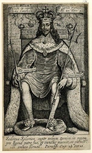 Portrait of Charles I enthroned, wearing crown and robes, holding sceptre and trident; illustration from unidentified book. Etching with engraving. Britishmuseum.org