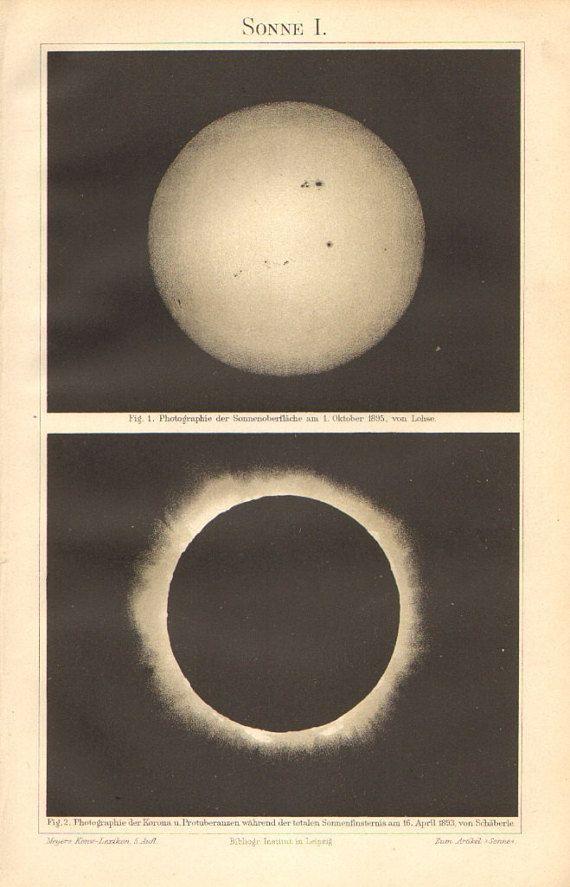 1897 Original Antique Lithograph Of The Solar Surface Solar Corona Solar Prominences And Solar Eclipse Solar Corona Lithograph Antiques