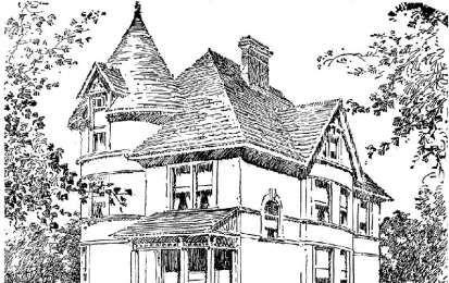 Disegni da colorare per adulti - Casa in stile vittoriano