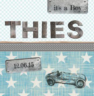 geboortekaartje Thies | Blijkaartje Stoer, sterren, auto, jongen