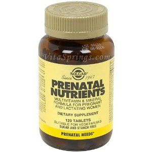 Solgar - Prenatal Nutrients Tablets - 120 by Solgar. $11.68. Solgar - Prenatal Nutrients Tablets - 120. Prenatal Nutrients by Solgar 120 Tablet p Supplement Facts Serving Size 4 Servings Per Container 15 Amount Per Serving Daily Value Calories 10 N A Total Carbohydrate 2 Gm N A Dietary Fiber 1 Gm 4 VITAMIN A (AS PALMITATE 3000 IU 63 5000 IU AS NATURAL BETA CAROTENE) 8000 IU 100 Vitamin C (As L-Ascorbic Acid) 100 Mg 167 Vitamin D (As Cholecalciferol) 400 IU 100 Vit...