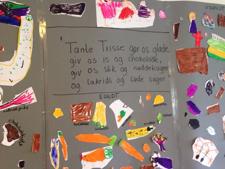 Tante Trisse gør os glade, giv os is og chokolade... Dialogisk læsning om tandhygiejne og sundhed. Efterbearbejdning af fortællingen. Sund og usundt. Snak udfra madpyramiden.