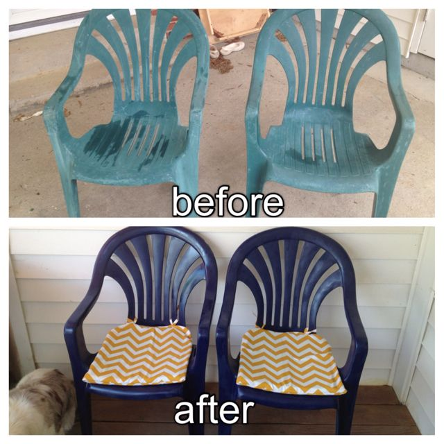 i spray painted these ugly plastic chairs navy blue and made seat cushions to spruce up