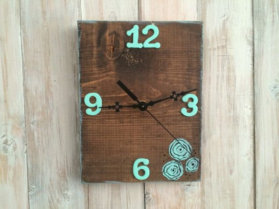Turquoise Clock, Flower Clock, Floral Clock, Unique Clock, Wooden Clock, Wall Clock, Turquoise Flower Clock, Shabby Chic Wall Decor, Rustic