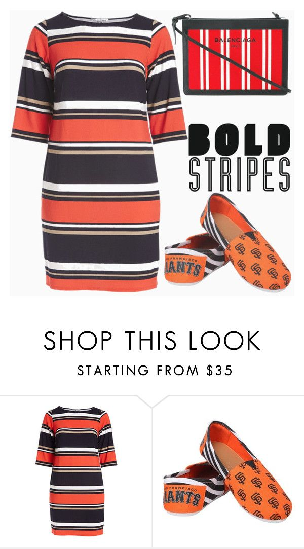 """""""Big, Bold Stripes"""" by shoaleh-nia ❤ liked on Polyvore featuring Sandra Darren, Forever Collectibles, Balenciaga and plus size dresses"""