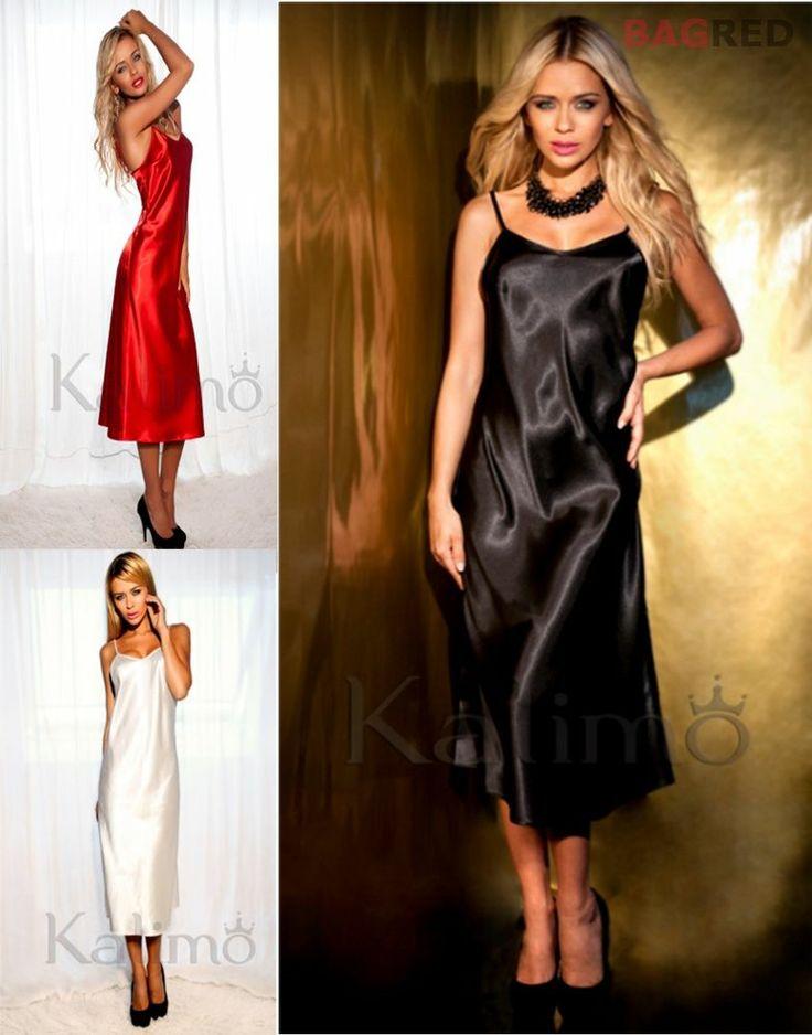Hot Satin Chemise Nightdress ARGENTINA Luxury Nightwear Sleepwear Slip Nightie