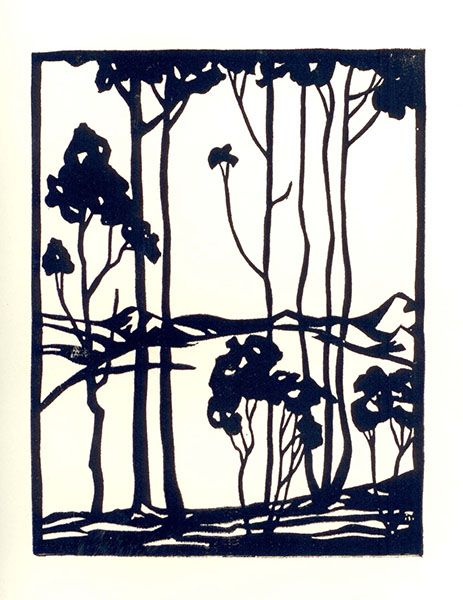 'Eucalyptus Grove' by Everett Ruess (March 28, 1914 – November, 1934?): a young artist, poet and writer who explored nature - including the High Sierra, California Coast and the deserts of the American southwest, invariably alone. His fate while traveling through a remote area of Utah has been a mystery for many years. Sounds like the basis for an interesting book or movie...!