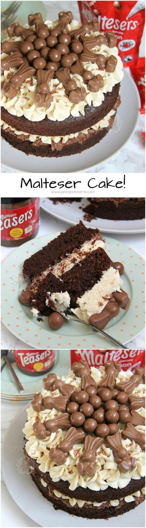 Malteser Cake! ❤️ A Two Layer Chocolate Malt Sponge, with Malteser Spread Filling, Malt Buttercream Frosting, Malteser Bunnies, Maltesers, and Sprinkles! Perfect Malteser Cake for Easter.