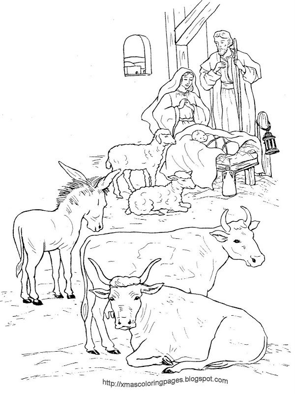 Nativity Coloring Pages Realistic | Nativity coloring ...