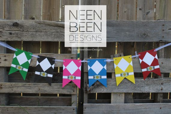 Power Ranger Inspired Banner by NeenBeenDesigns on Etsy