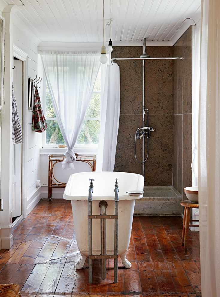 Bathroom. Summer house of fashion photographer Peter Gehrke and his family in Gotland, Sweden. Photo by Martin Löf.
