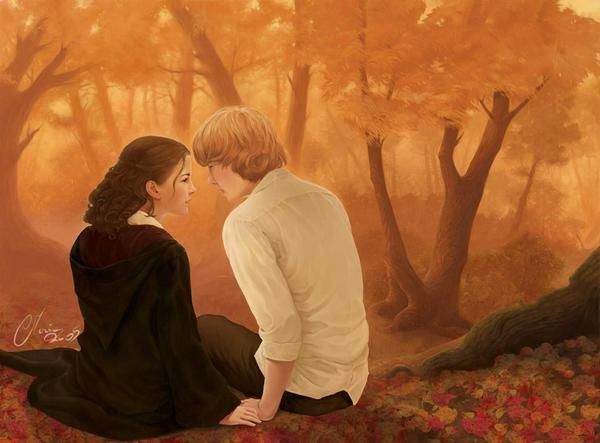 This is one of my favorite Ron and Hermione fan art pieces.
