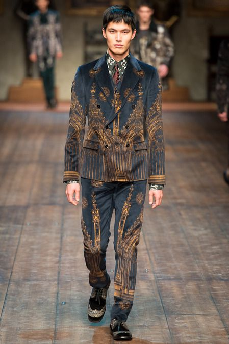Dolce & Gabbana   Fall 2014 Menswear Collection   Style.com ^~^Medieval town prints suits!
