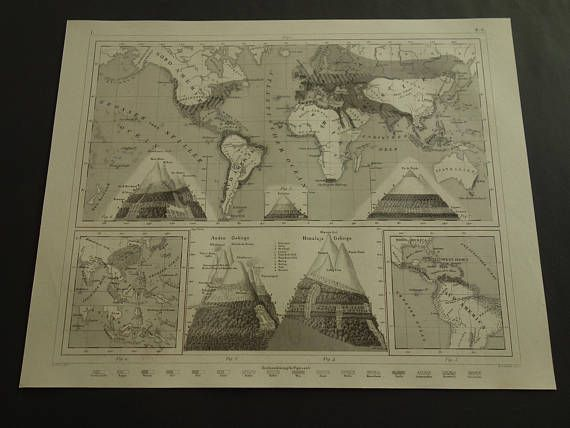 Antique 1849 original worldmap  lovely old world map about