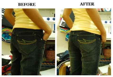 How to make jeans tighter. Obvious. Just need to be brave enough!