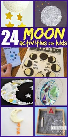24 Moon Day crafts for kids and kids activities perfect for celebrating  moon day on July 20th, for a solar system unit, studying astronomy, homeschooling science, summer learning,and so much more. LOTS OF GREAT IDEAS perfect for preschool, prek, kindergarten, first grade, second grade, third grade, fourth grade, and 5th grade students.