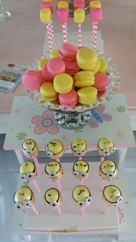 Beautiful girly minion dessert for minion party by Rosie B Events