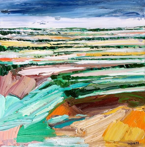 'Rainwashed' original oil landscape by Adelaide artist Katie Wyatt. Framed in a natural shadowline box frame. Dimensions: Artwork 40cm x 40cm Frame 43cm x 43cm.  Born in 1974, Katie received an Associate Diploma in Fashion Design, Marleston TAFE, South Australia. She paints in an abstract impressionist style, creating textural pieces based on her own experiences, memories, photographs and recollections.  Katie's graphic design background is also evident through her solid compositi...