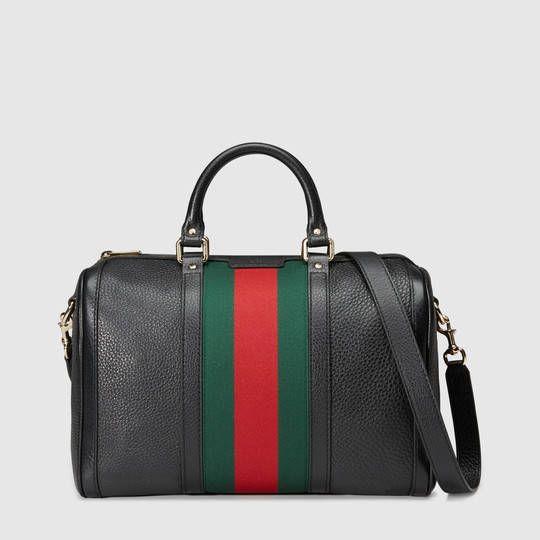 551c4bc33 Gucci Women - Vintage Web leather boston bag - 247205A7MAG1060 | Style |  Gucci handbags vintage, Black gucci bag, Bags