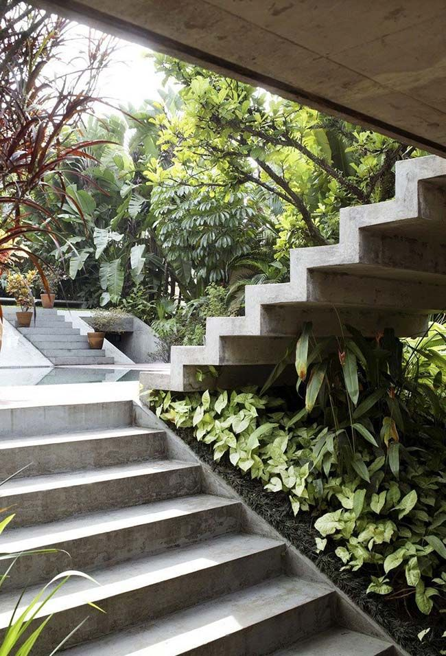 The garden below the external staircase stands out for the