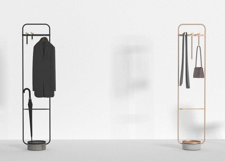 Chinese studio Neri&Hu has designed a minimal clothes stand for Offecct that combines metal, leather and concrete.