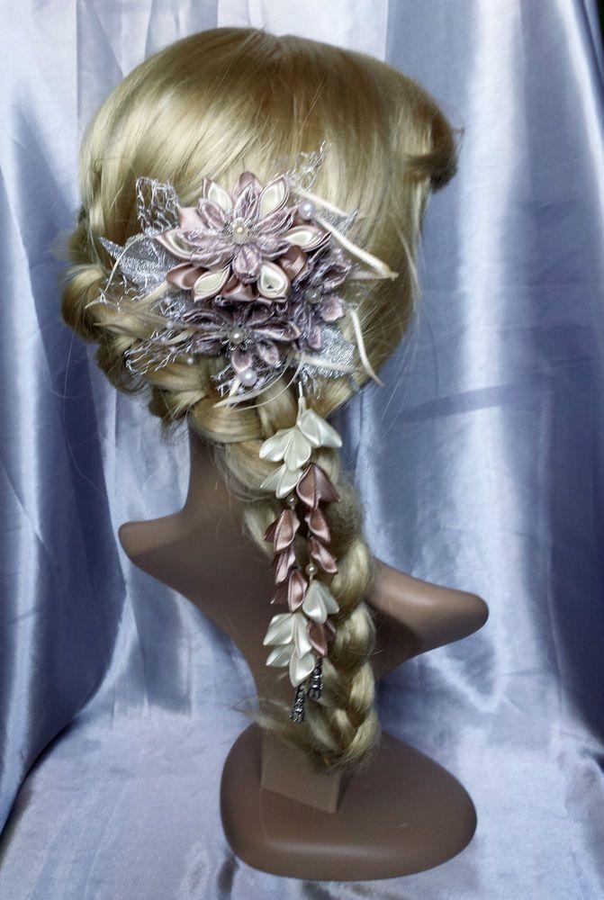 Französische Haarspange Haarklammer Kanzashi Haarschmuck Satinblumen Hochzeit