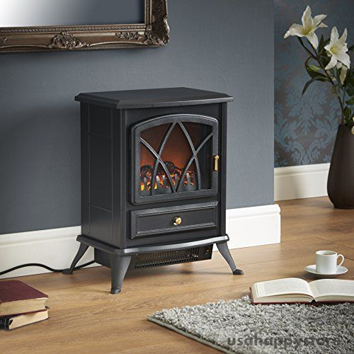 Electric Fireplace Space Heater Portable Free Standing Stove Realistic Indoor #VonHaus
