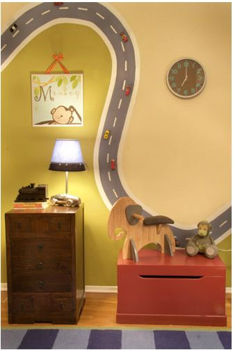 Magnetic paint for the road and magnets on the toy cars. Genius! (Original source: http://www.kokainteriors.com/ WOW took a long time to track them down.)
