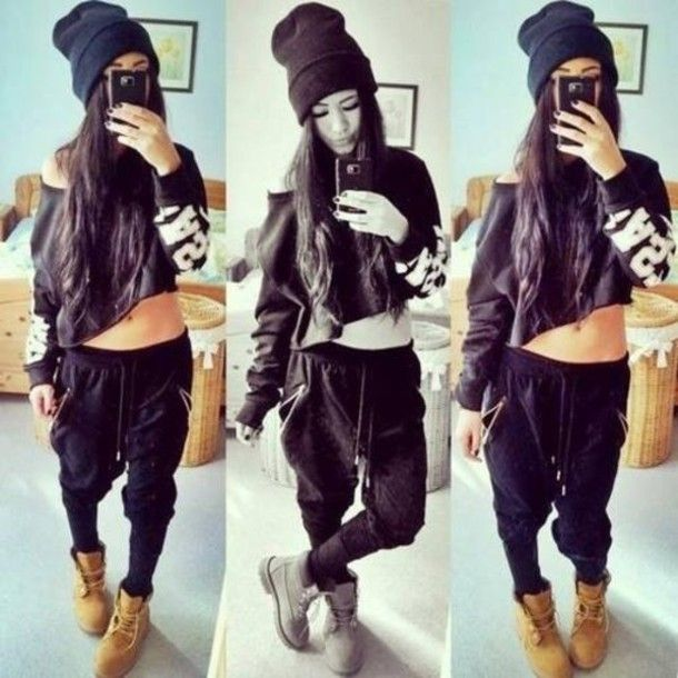 Dope Outfit Beanie Shoulder Crop Top Joggers