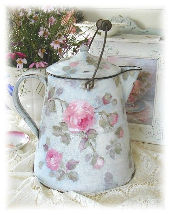 Antique enamelware hand painted Coffee Pot: