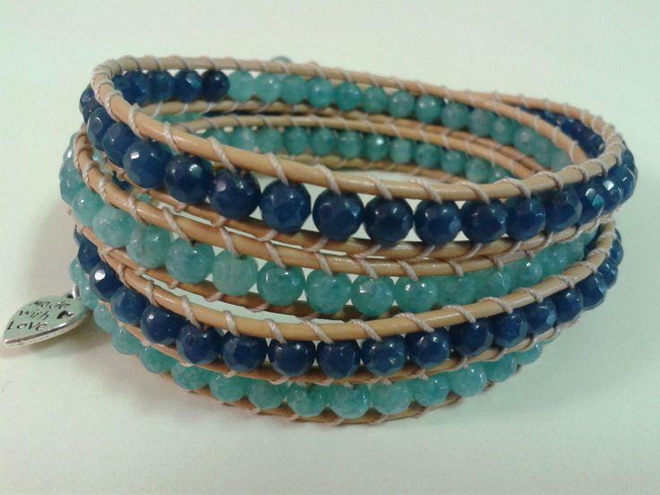Quattro giri di pietre dure azzurre e blu!