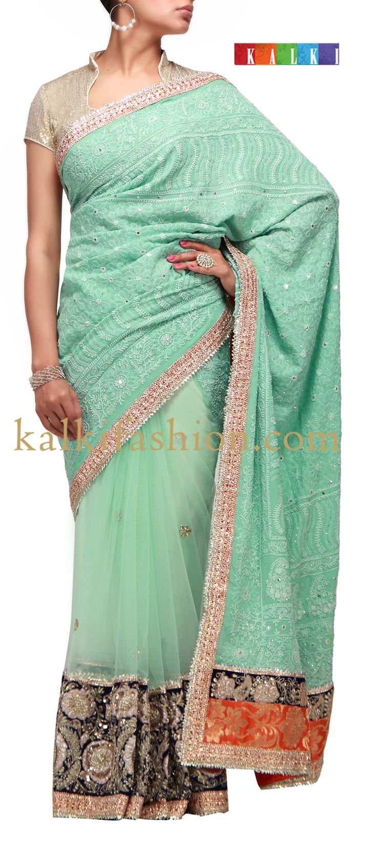 Buy it now http://www.kalkifashion.com/blue-half-half-saree-with-chikankari-work.html Blue half half saree with chikankari work