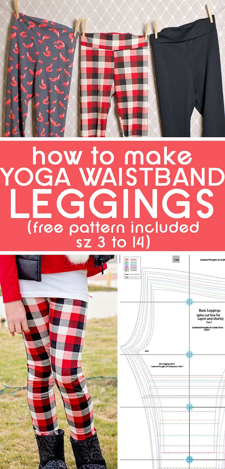 How to sew Yoga Waistband leggings with this free Yoga Waistband Legging Tutorial (includes link to a free legging pattern in girl's sizes 3 to 14)