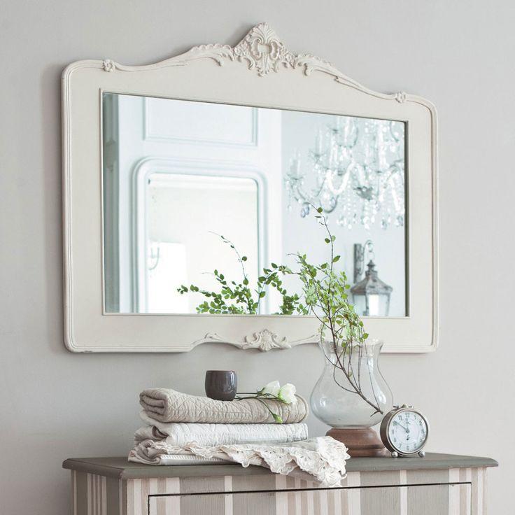 Bathroom, White Painted Oak Mirror Frame Classic Bathroom Vanity Grey Accent Vanity Glass Vase Table Clock Grey Bathroom Wall: Bathroom Mirror Frames: Consider Your Decor Theme