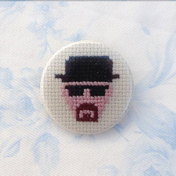 Breaking Bad cross stitch 35mm pinback by PetipoaNeedleCraft