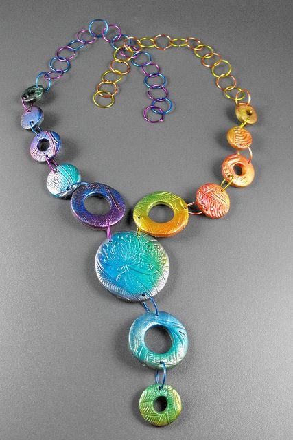 Fun!  Margit Bohmer  Poly Clay Necklace combined with colored wire