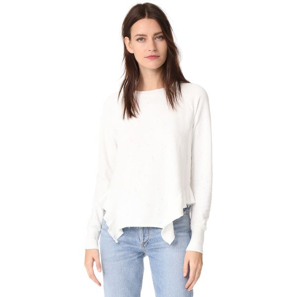 NSF Adelaide Sweatshirt ($237) ❤ liked on Polyvore featuring tops, hoodies, sweatshirts, asymmetrical hem top, white frilly top, polka dot top, white ruffle top and ruffle top