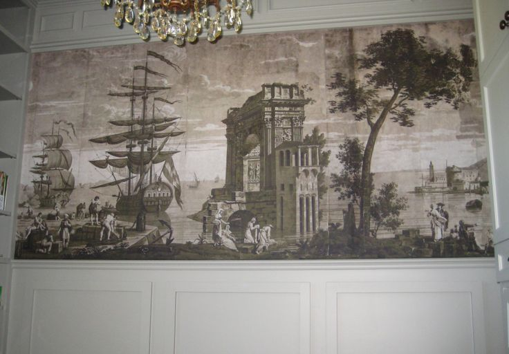 127 best images about wallpaper faux murals on pinterest for Colonial mural wallpaper