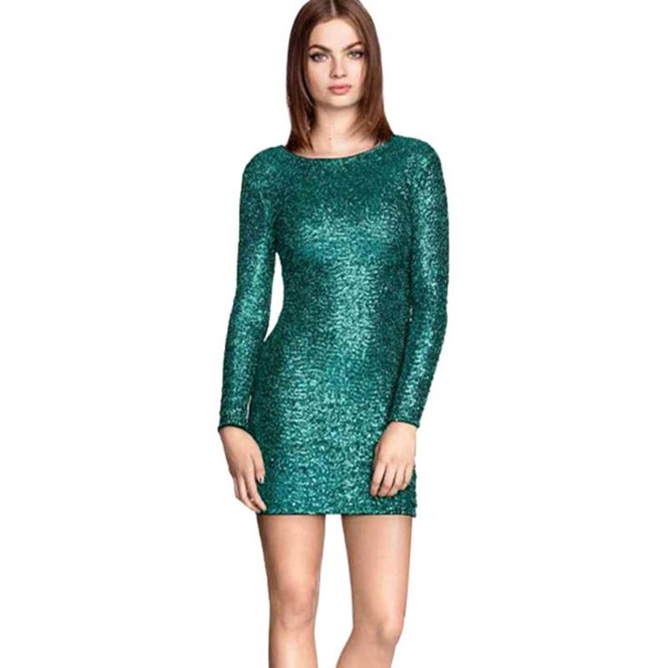 luxury hunter long sleeves sequin prom dresses sheath short party